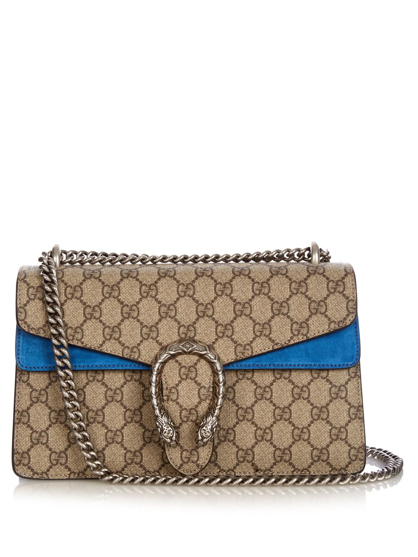 d15a0439762e Gucci's beige and brown Dionysus bag presents the iconic GG Supreme canvas  in a totally fresh guise. Persian-blue suede enlivens the boxy body, ...