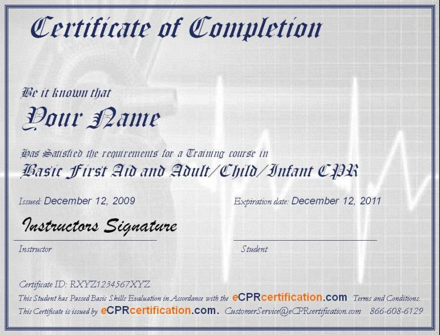 Online cpr first aid certification certificate sample eCPR