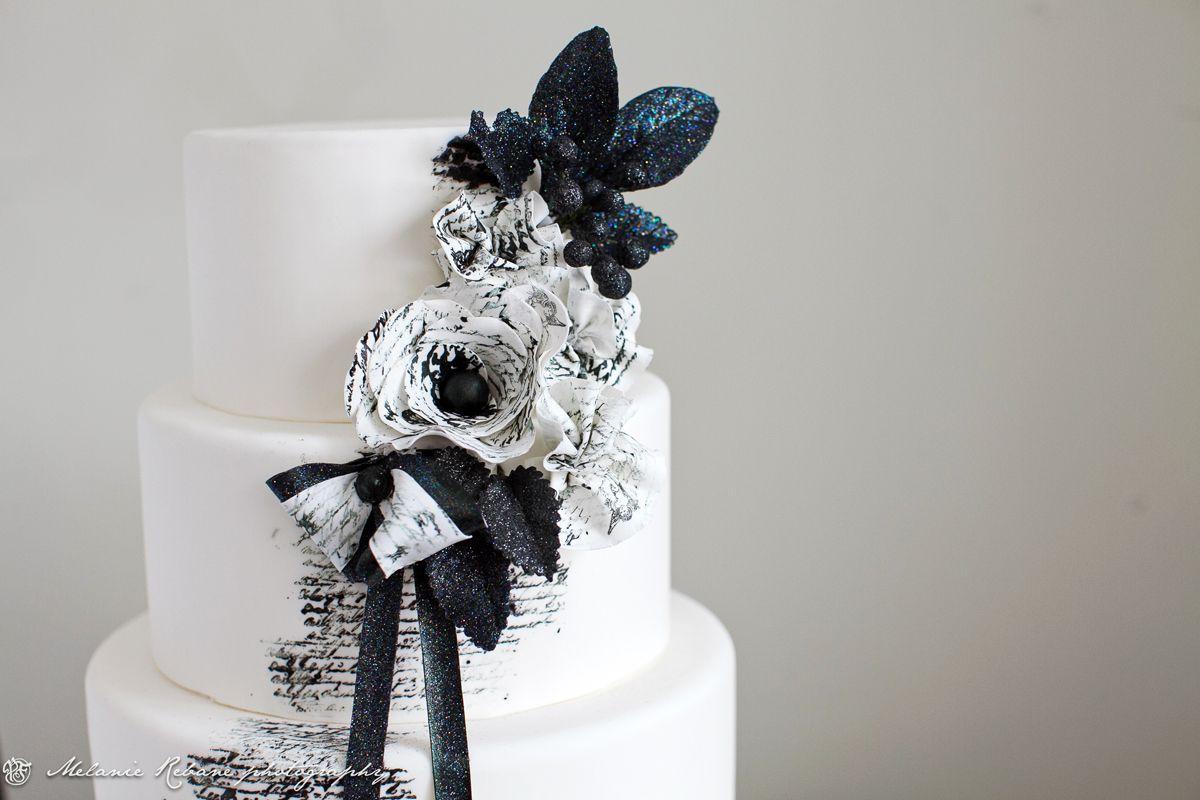 Midnight in Paris- black and white wedding cake