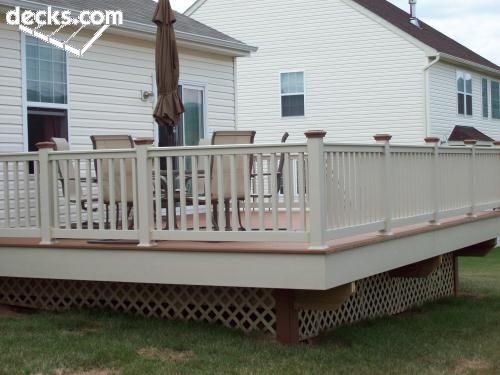 a biege railing for your deck