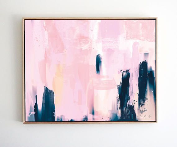 Large Abstract Art, Large wall art, Navy Blue and Pink Art, 24x36 ...