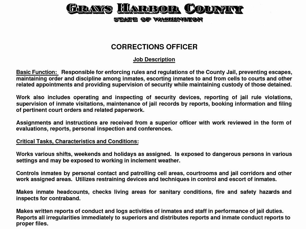 Correctional Officer Duties Resume Awesome Perfect