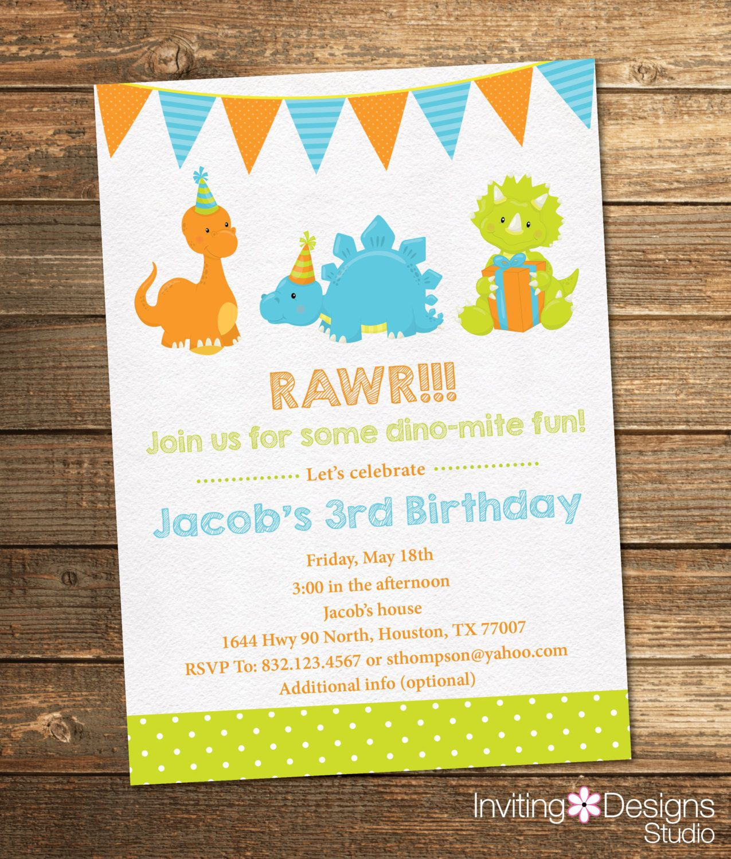 Dinosaur Birthday Invitation, Boy Birthday, Third Birthday, First ...