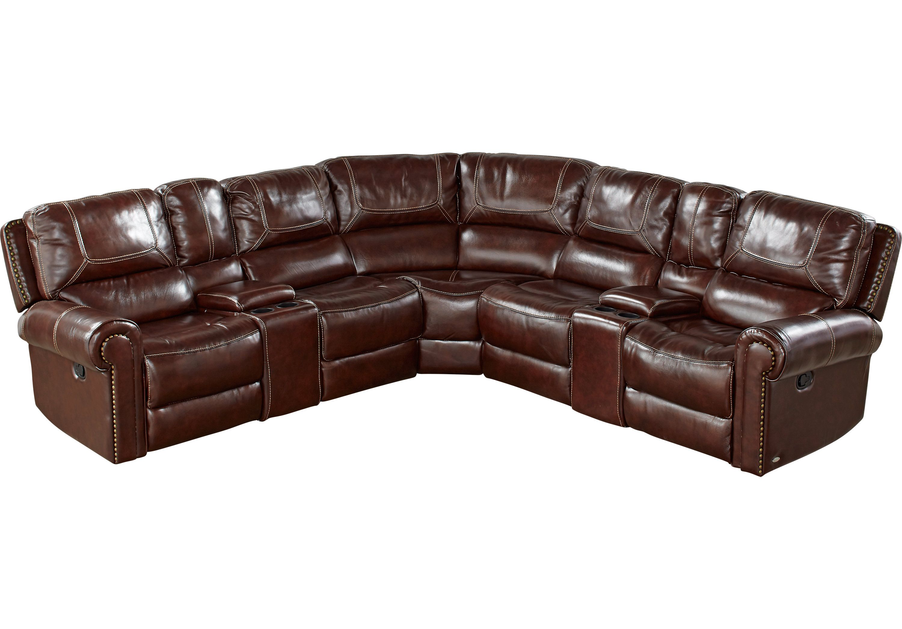 Sensational Cindy Crawford Home Campania Brown Leather 7 Pc Reclining Bralicious Painted Fabric Chair Ideas Braliciousco