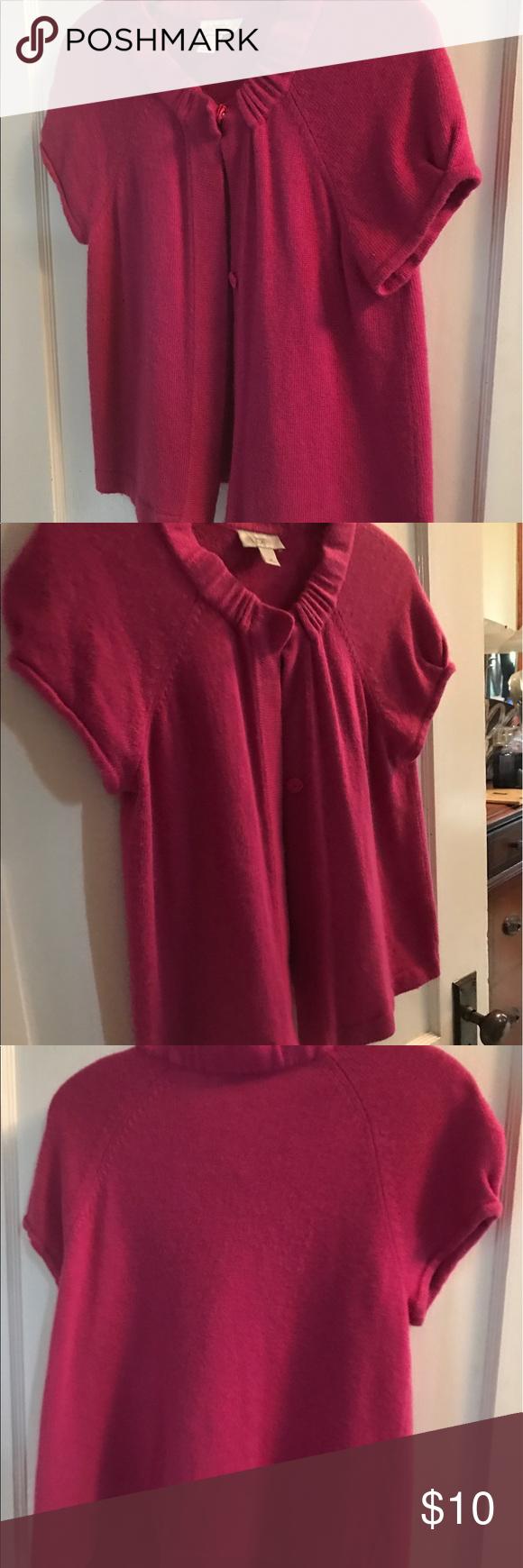 LOFT Short-sleeve Cardigan LOFT bright pink short-sleeve cardigan ...