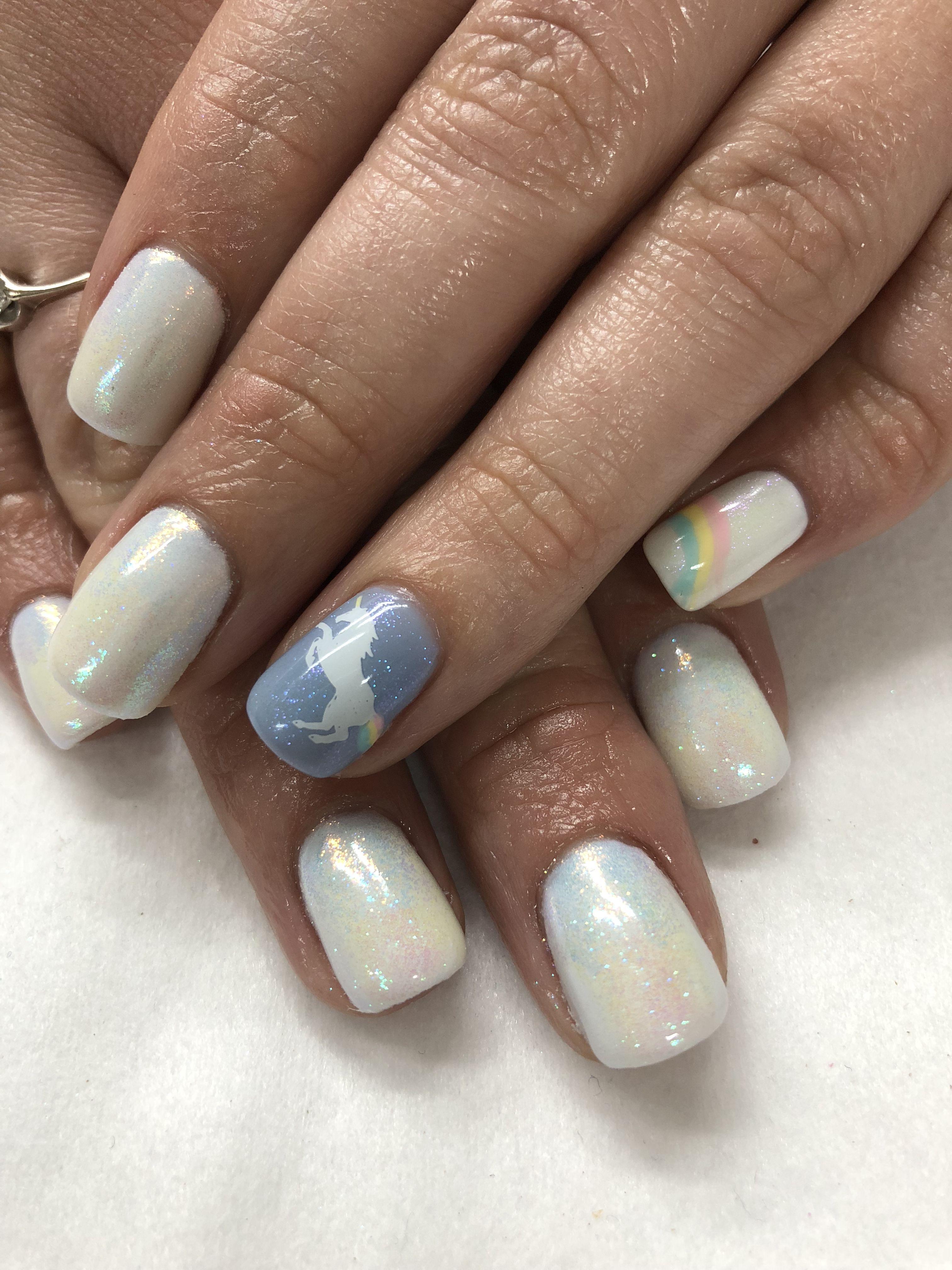 Unicorn Nails Triple Color Mermaid Powder Gel Nails Gel Nail