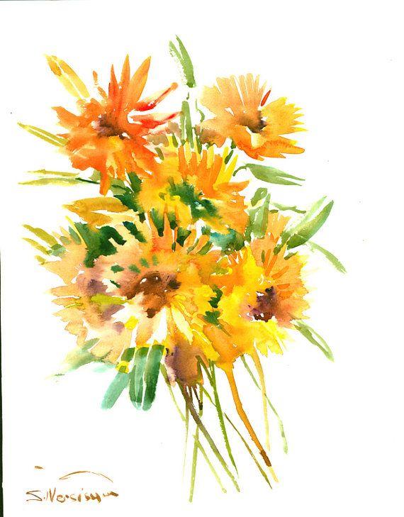 Calendula flowers original watercolor, 14 x11 in, orange red floral ...