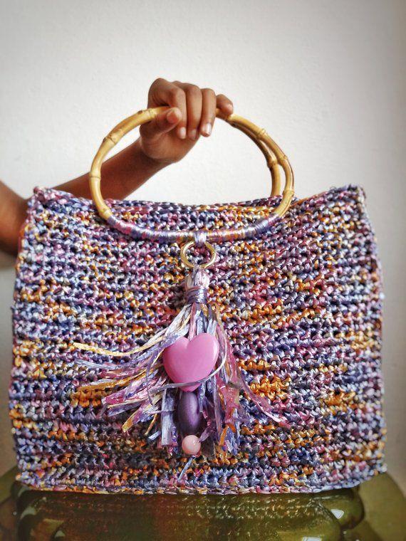 23c77c5cf8 Borsa in rafia colorata lavorata all'uncinetto, borsa a mano lavorata  crochet, con