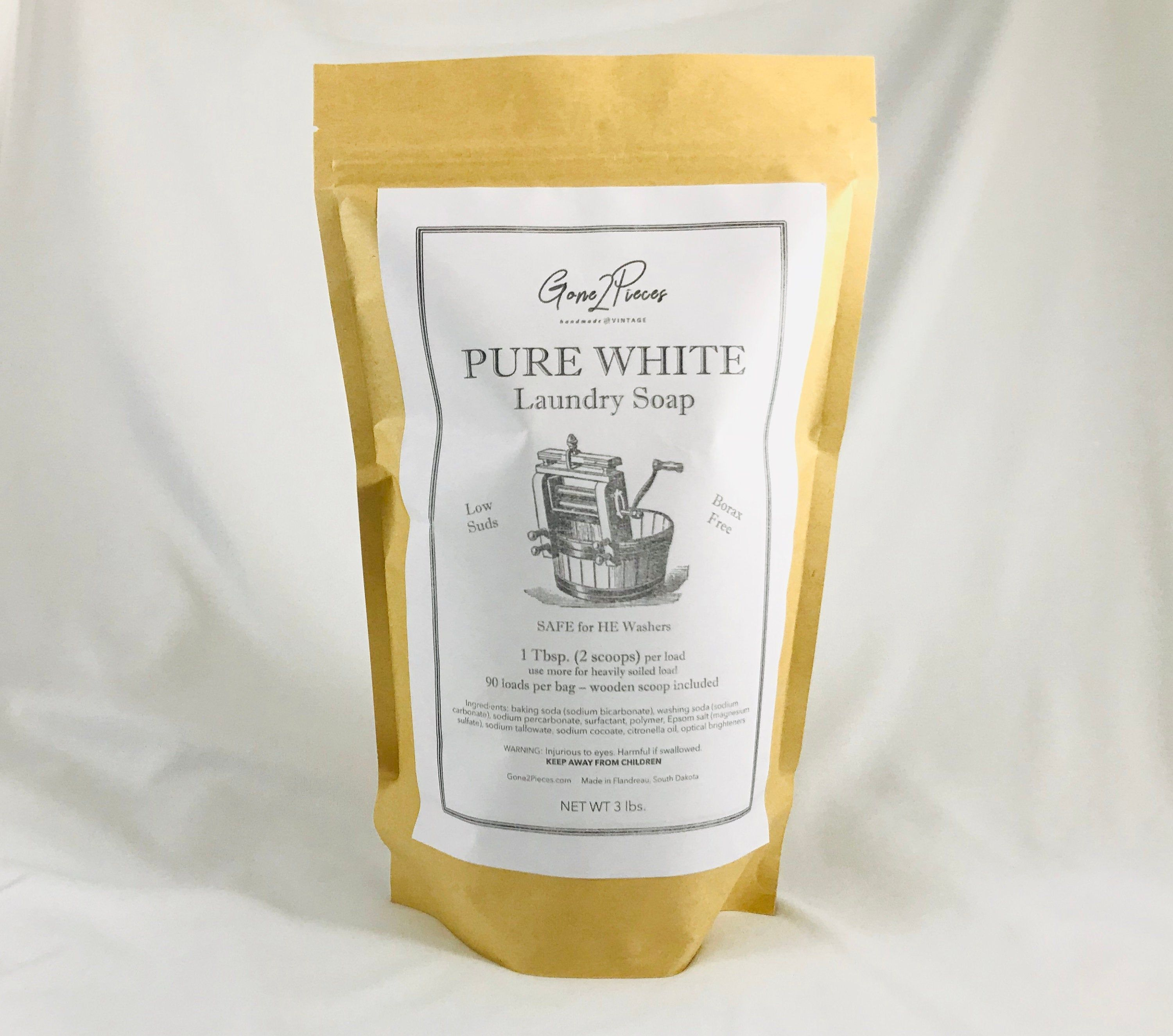 Pure White Laundry Soap 3 Lb Includes Wooden Scoop Etsy In 2020