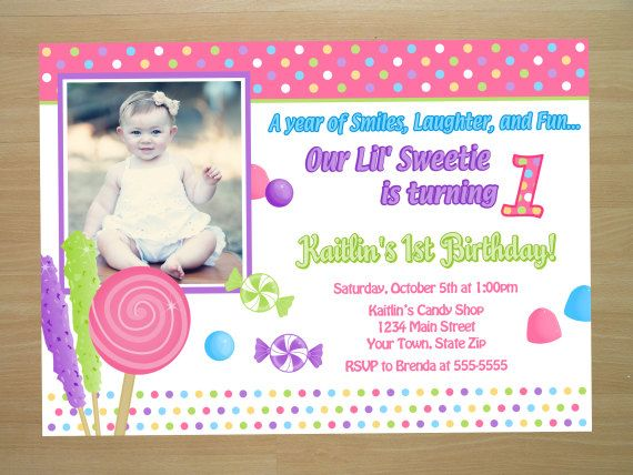 Candy 1st Birthday Invitation Digital File by SquigglesDesigns - birthday invitation letter sample