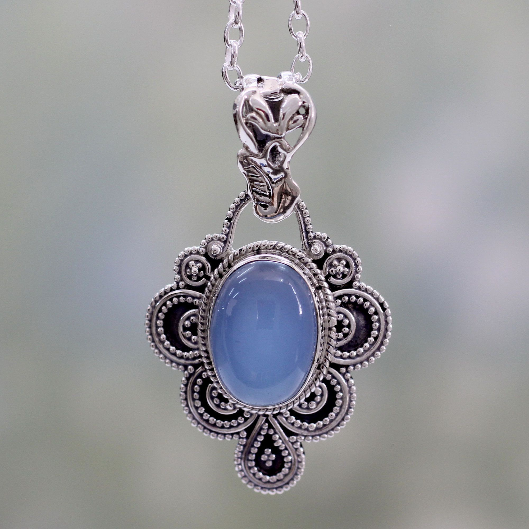 s pendant treasures necklace earth chalcedony blue ss product