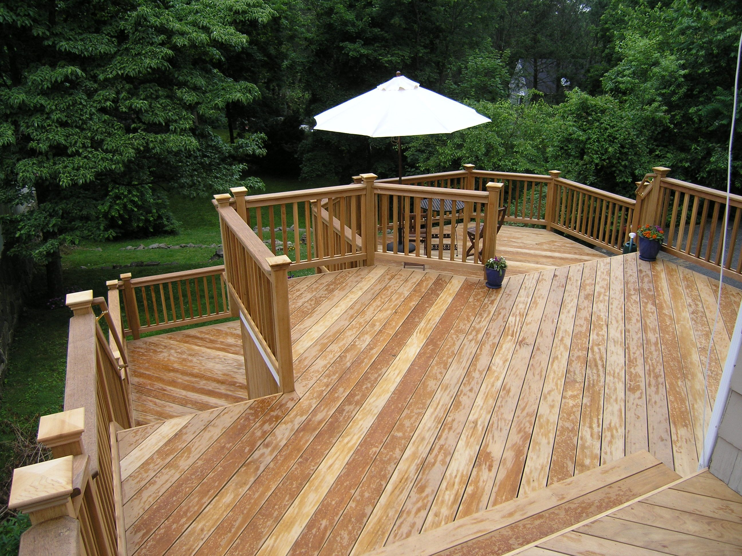 Cos cob natural wood deck completed wood decks natural for Photos of outdoor decks