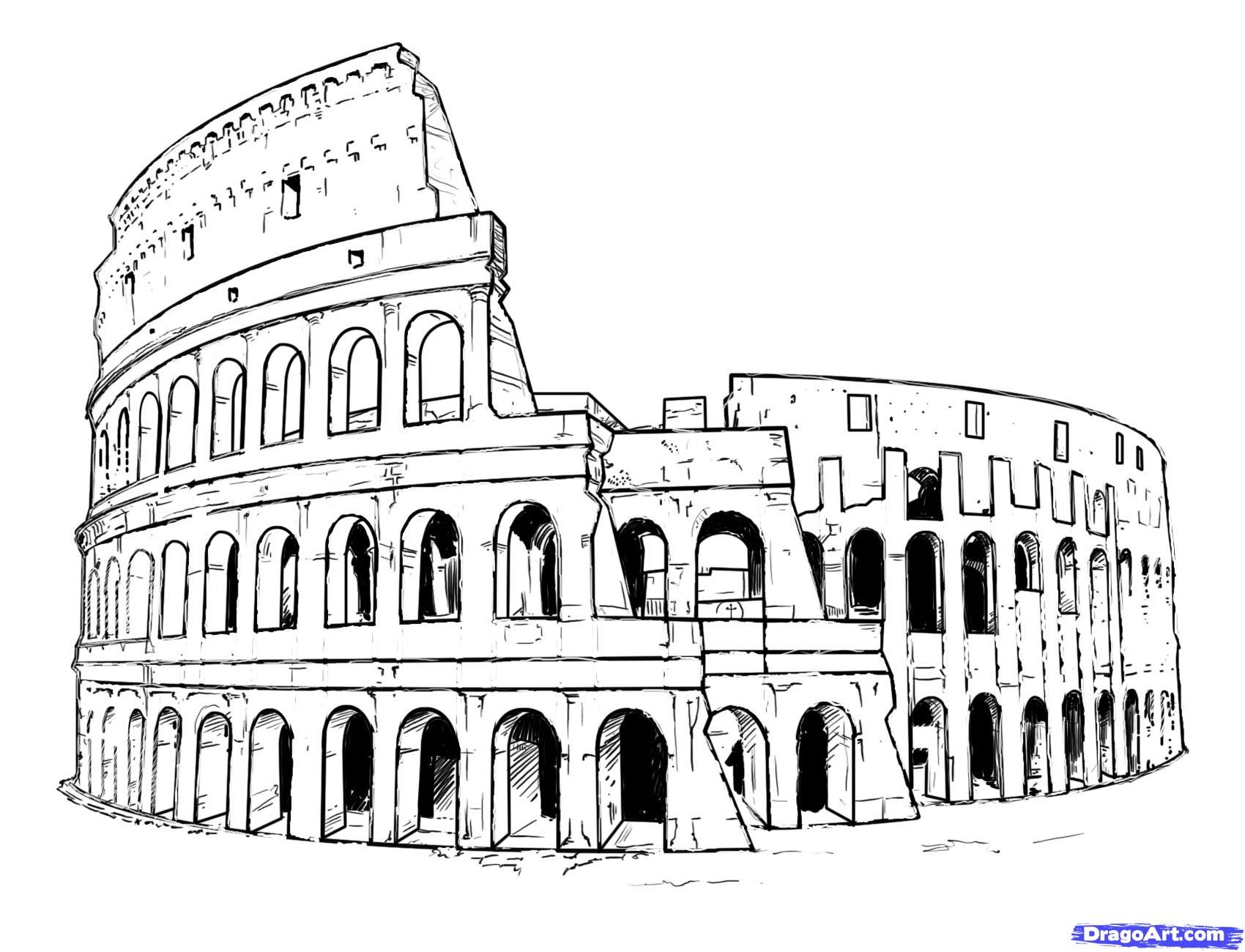 How to draw the colosseum step by step famous places for Architectural plans of famous buildings