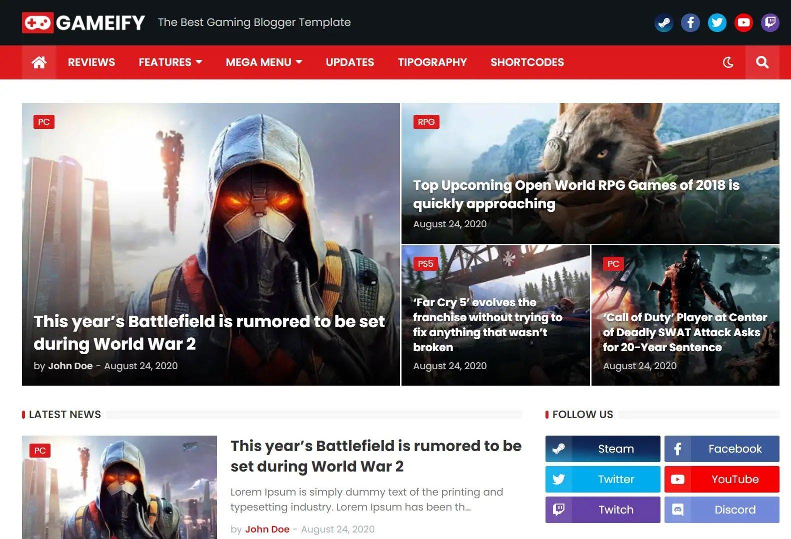 Download Gameify Premium Blogger Template Latest Blogger Theme In 2020 Blogger Templates Blogger Themes Blogger