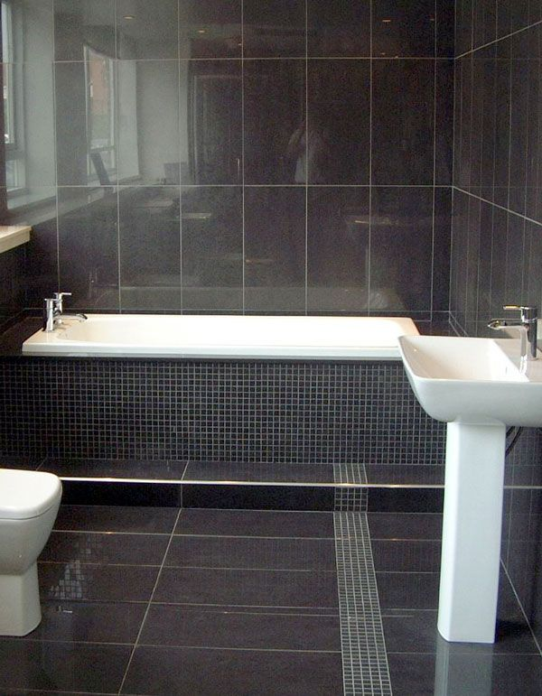 10 Gorgeous Bathrooms With Black Tile | Slate bathroom, Black tile ...