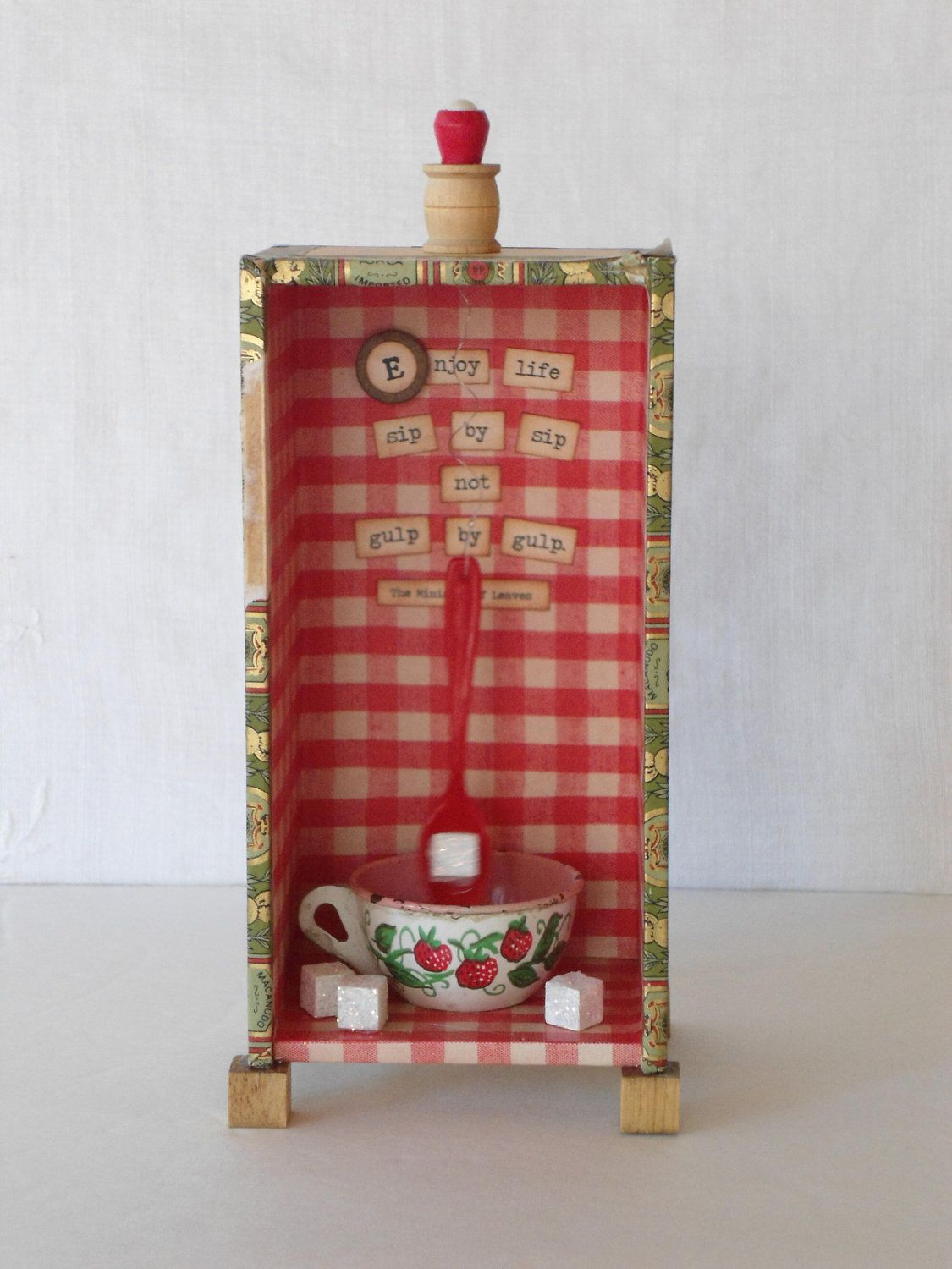 Kitchen Diorama Made Of Cereal Box: Tea Lover Kitsch 3D Shadowbox Diorama Kitchen Chime