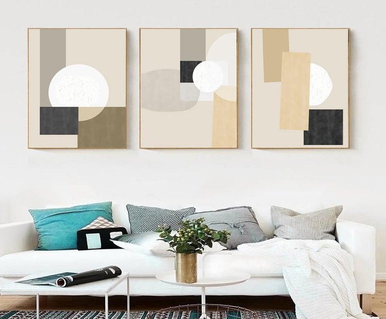 Geometric Wall Art Neutral Artwork Set Of Three Prints Digital Download Geometric Modern Art Geometric Poster Apartment Art Geometric Print In 2020 Geometric Wall Art Modern Geometric Art Neutral Artwork #neutral #wall #art #for #living #room