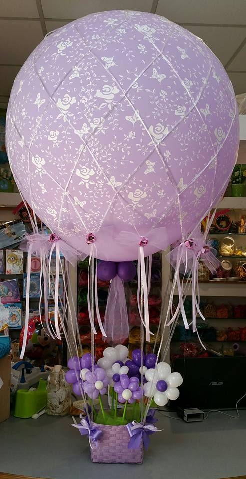 Palloncini comunione mongolfiera lilla con fiorellini balloons - Composizione palloncini da tavolo ...