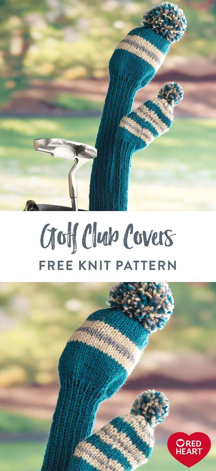 Golf Club Covers free knit pattern in Red Heart Super ...
