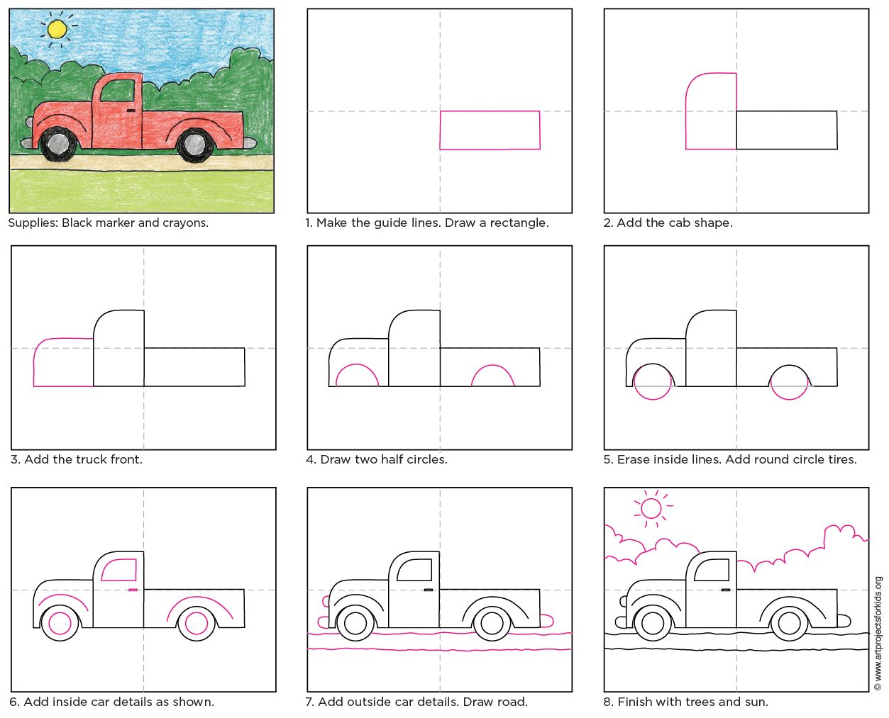 How To Draw A Simple Truck Easy Drawings Art Drawings For Kids