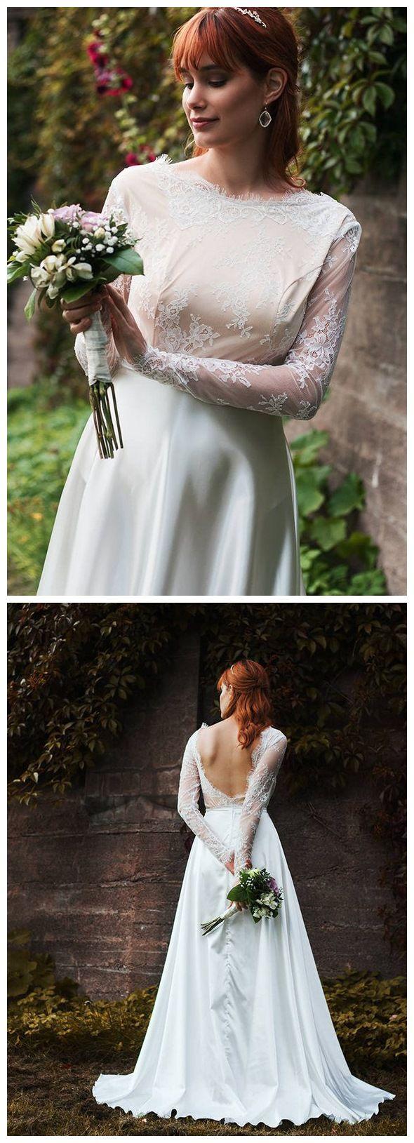 Long sleeve modest white wedding dresses satin plus size beach