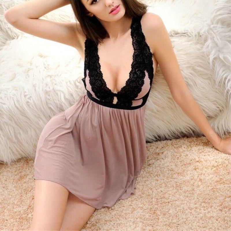 Jeseca Sexy Women Lace Casual Sleepwear Mini Nightgown Summe Sleep Dress  Lace Home Plus Size Seamless Lingerie NightDress 62094e8c5