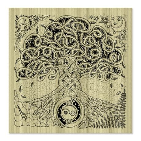 Celtic Tree Of Life Ink Shower Curtain By Foxvox Celtic Tree