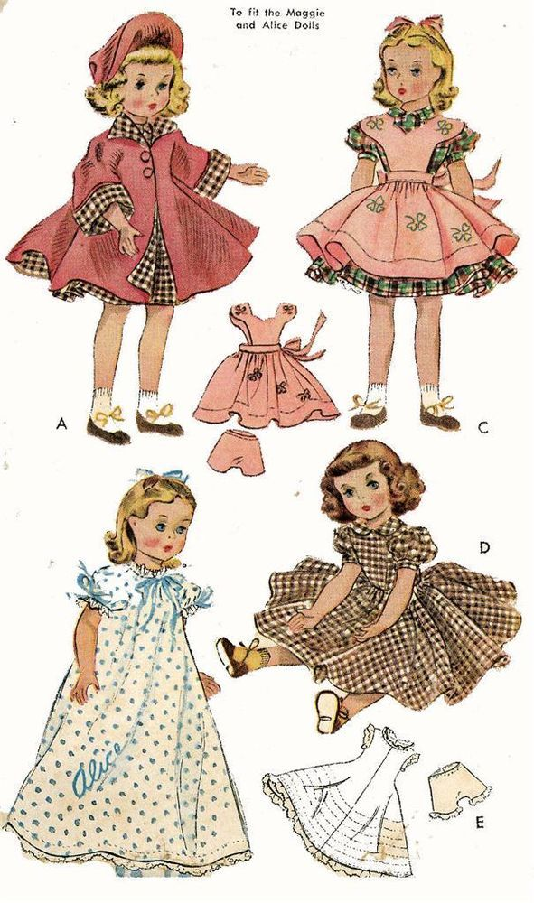 Maggie Alice Doll Clothes PATTERN 1717 for 18 inch Madame Alexander ...