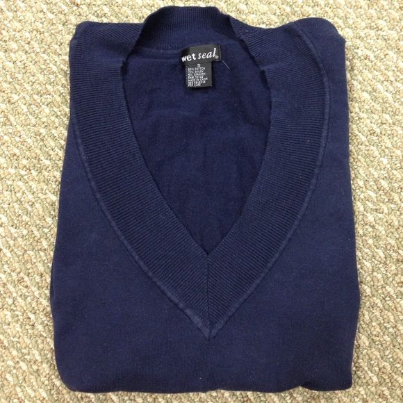 Wet Seal Navy Sweater Soft warm, V-neck sweater. Long torso, no damages, holes or spots. Worn, but great condition! Size small but will fit medium since that's my size. Wet Seal Sweaters V-Necks