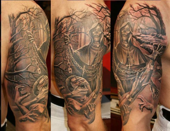 Half Sleeve 3d Horror Tattoo On For Men