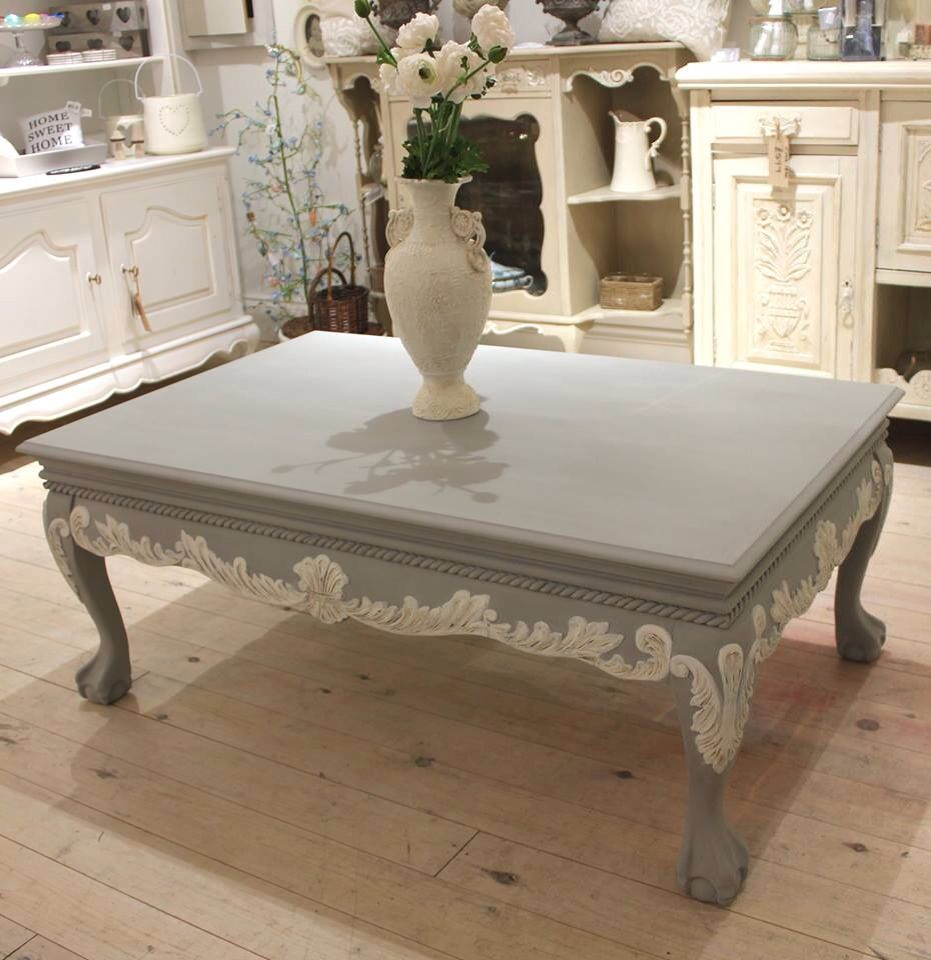 Stunning Large Paris Grey and Old White Coffee Table from concepthomeaccessories.co.uk based in Middlesbrough UK