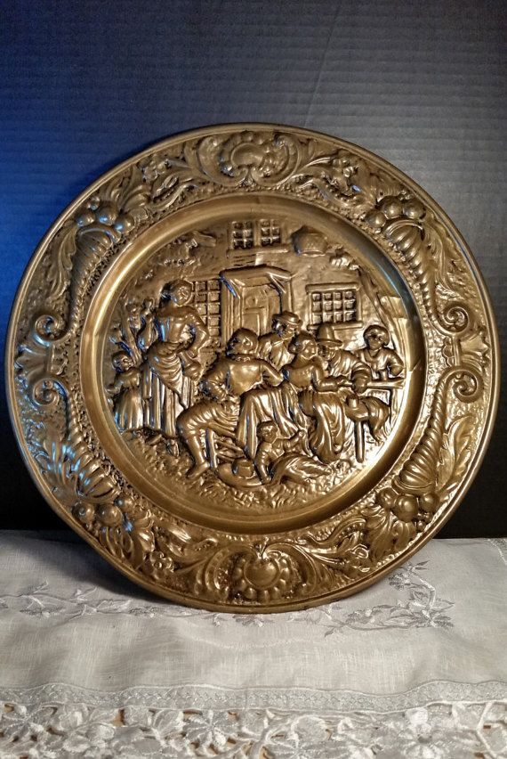 Renaissance Round Brass Plaque Plate Wall Hanging Vintage