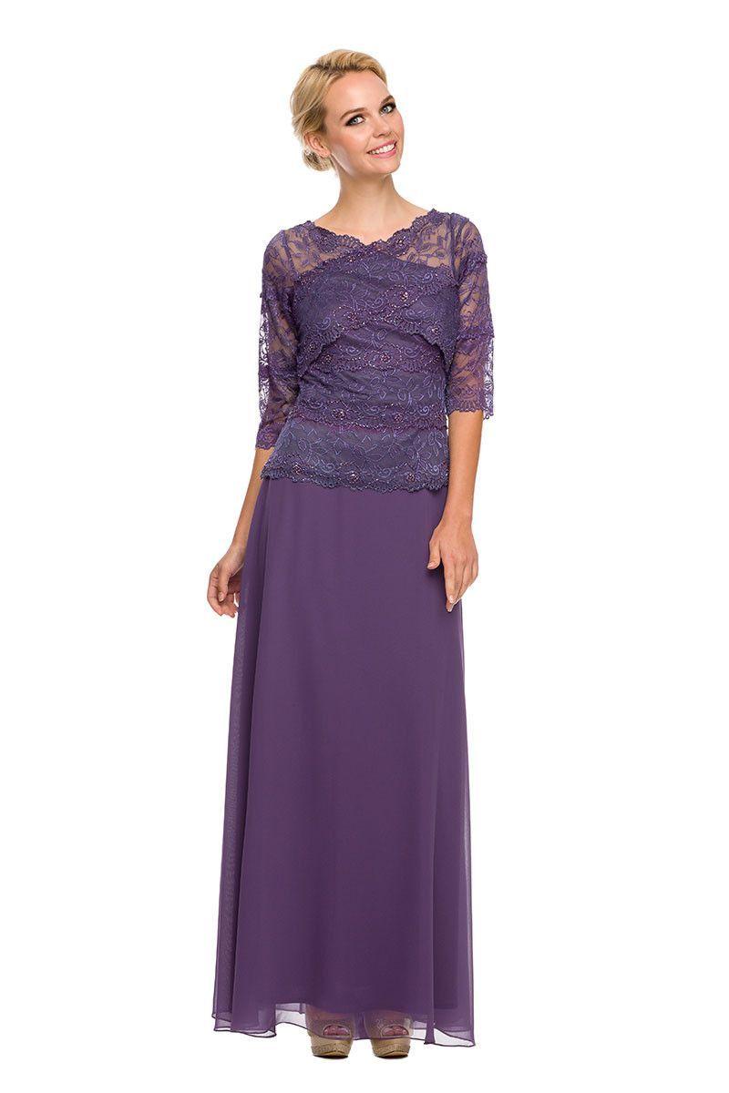 Long lace floral bodice beautiful elegant mob evening wedding dress
