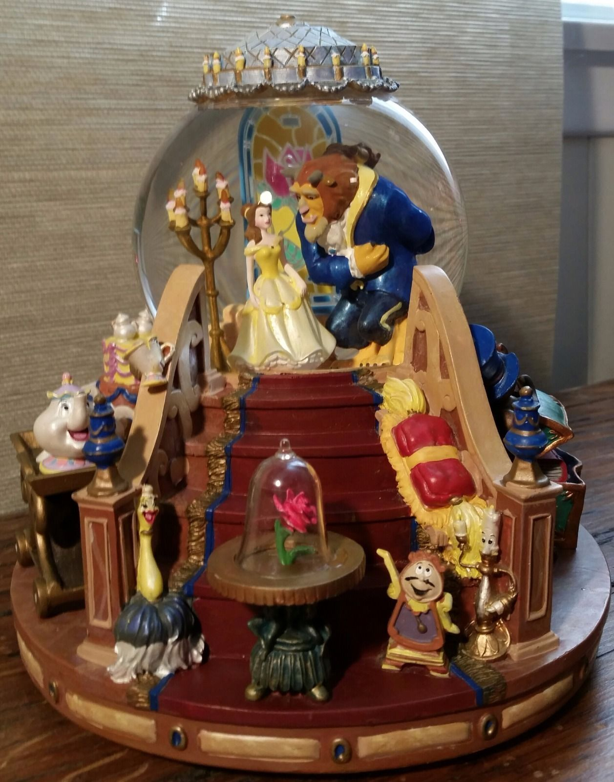 Details About Disney Beauty And The Beast Music Box Snow Globe