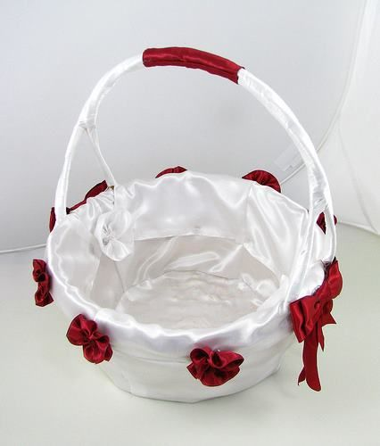 Deep red on white liking the red pinterest flower girl basket white satin flower girl baskets with red bow and roses mightylinksfo