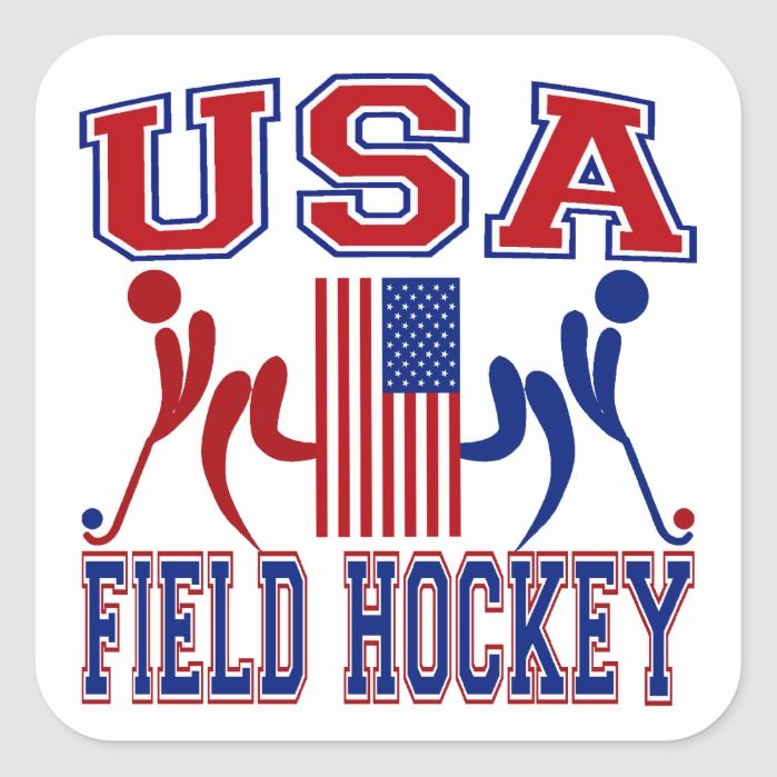 Usa Field Hockey Square Sticker Zazzle Com Field Hockey Hockey Sports Flags