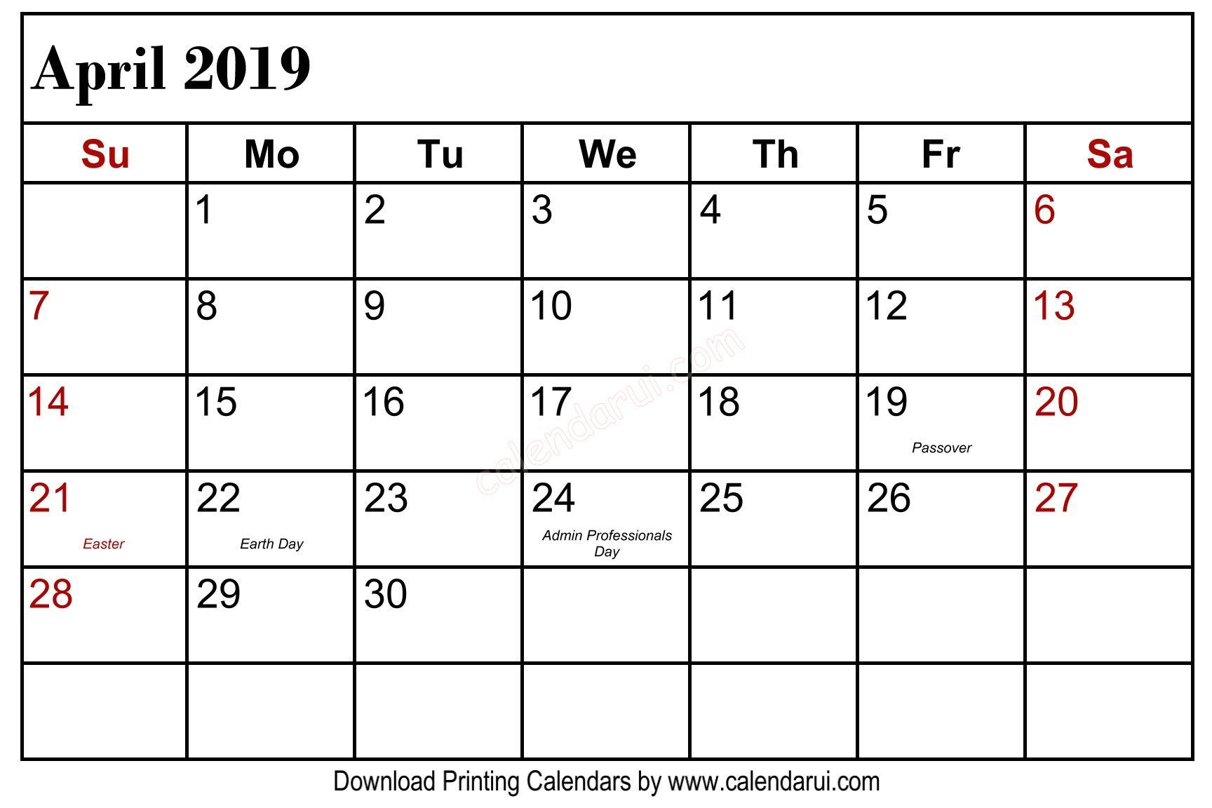 April 2019 Calendar Holidays USA Public Holidays 1