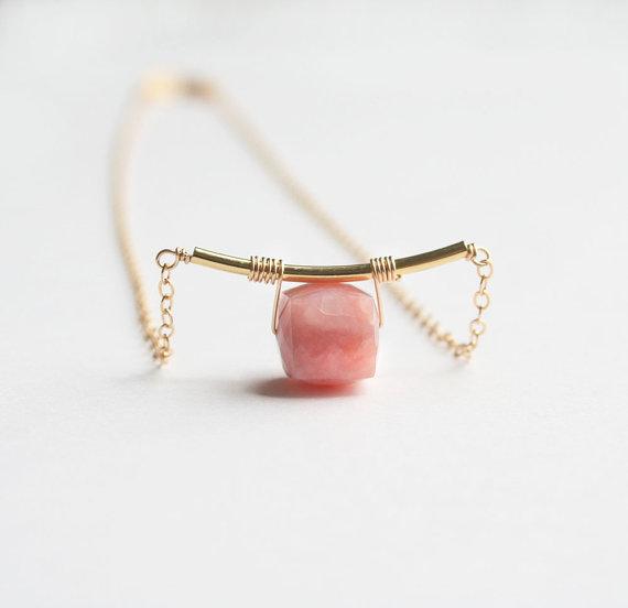 Pink Opal Necklace, Pink Necklace, Opal Necklace, Gemstone Jewelry #gemstonejewelry