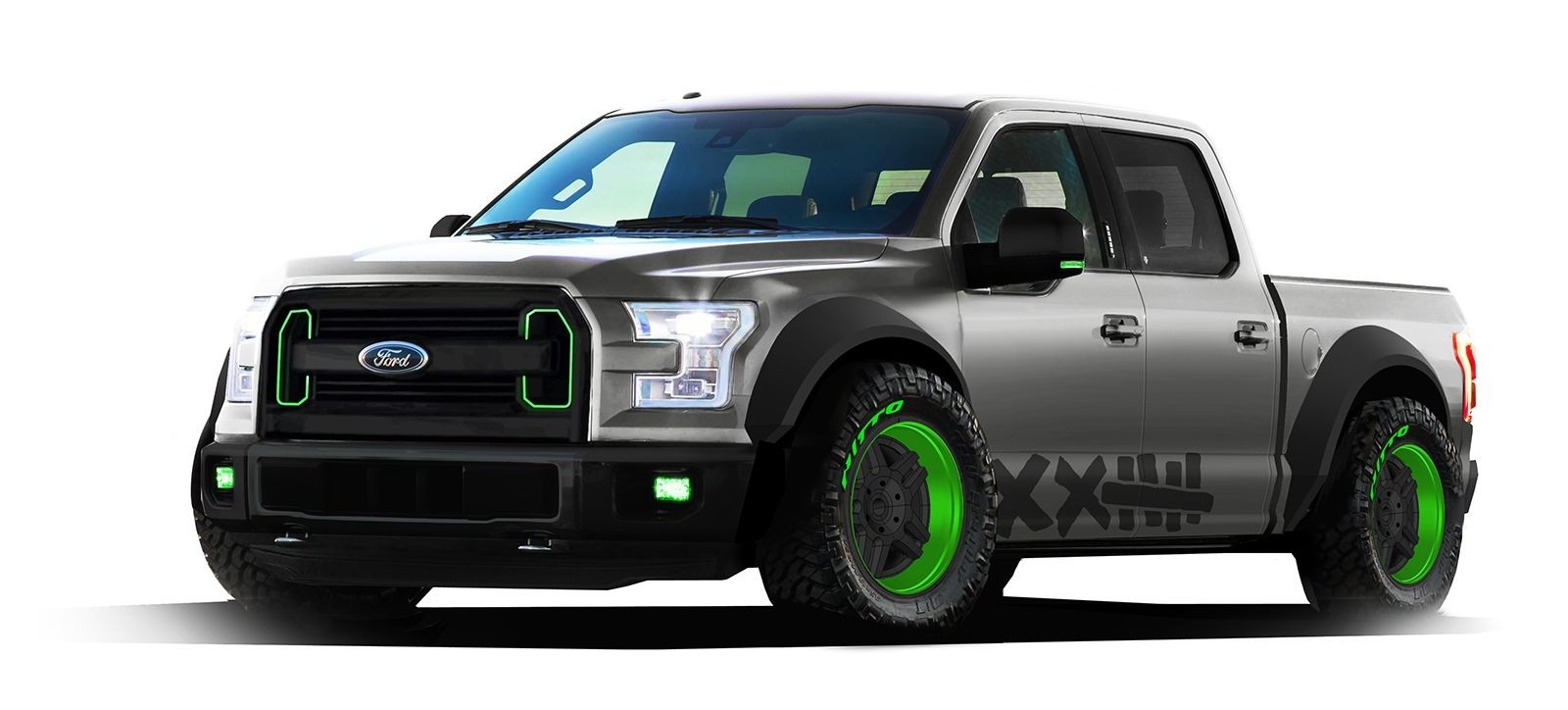 Ford turned a 2015 f 150 into a jump drift truck for sema
