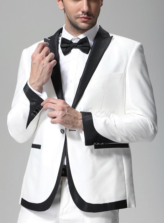Handsome White Slim Fit Suit