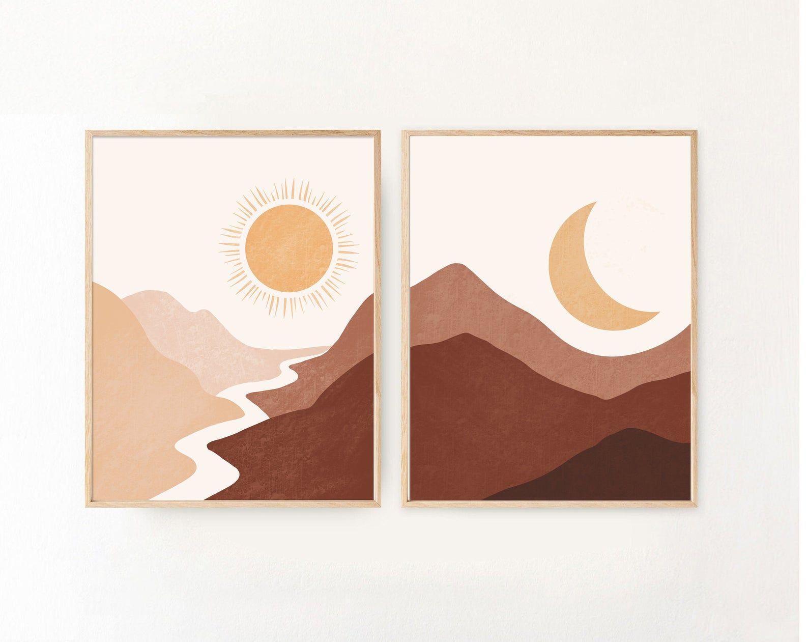 Boho Prints Set of 2, Sun Moon Prints, Boho Art Prints, Boho Wall Art, Abstract Landscape, Nursery Wall Art,Mountain Art,Abstract Sun Prints