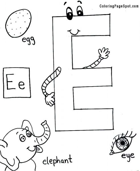 letter e alphabet coloring page