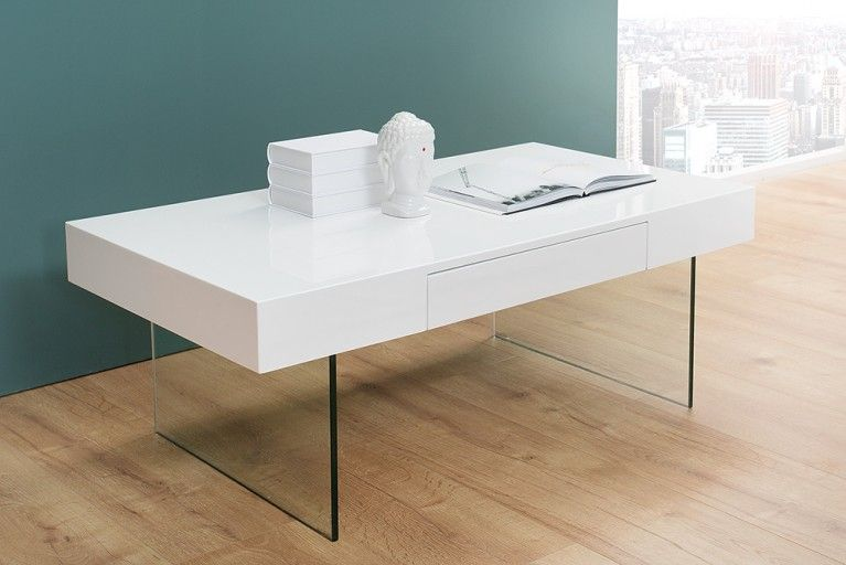 Moderner Design Couchtisch FLOATING 110cm weiß Hochglanz Glas