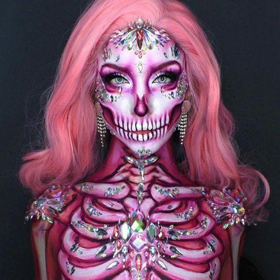 30 ideas geniales y glamorosas de maquillaje de esqueleto