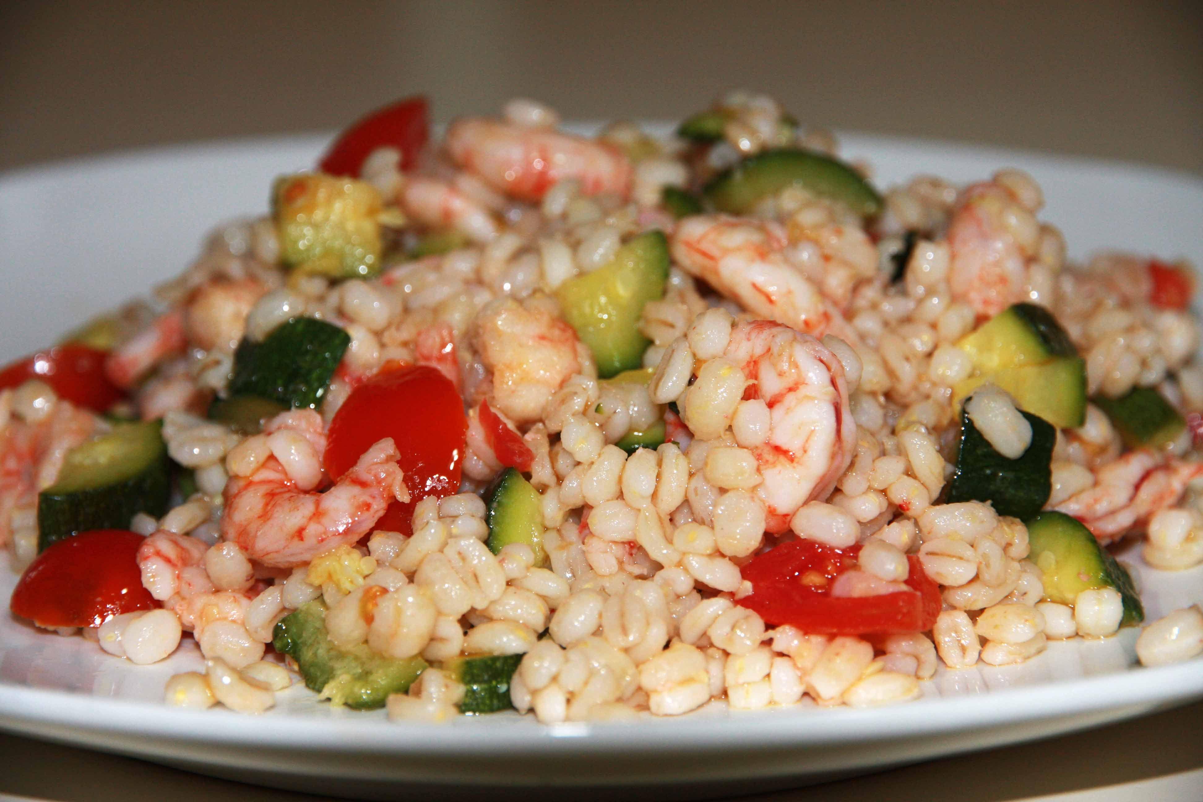 Pranzi Sani E Leggeri : Orzo perlato gamberi zucchine e pomodorini ricette per dieta