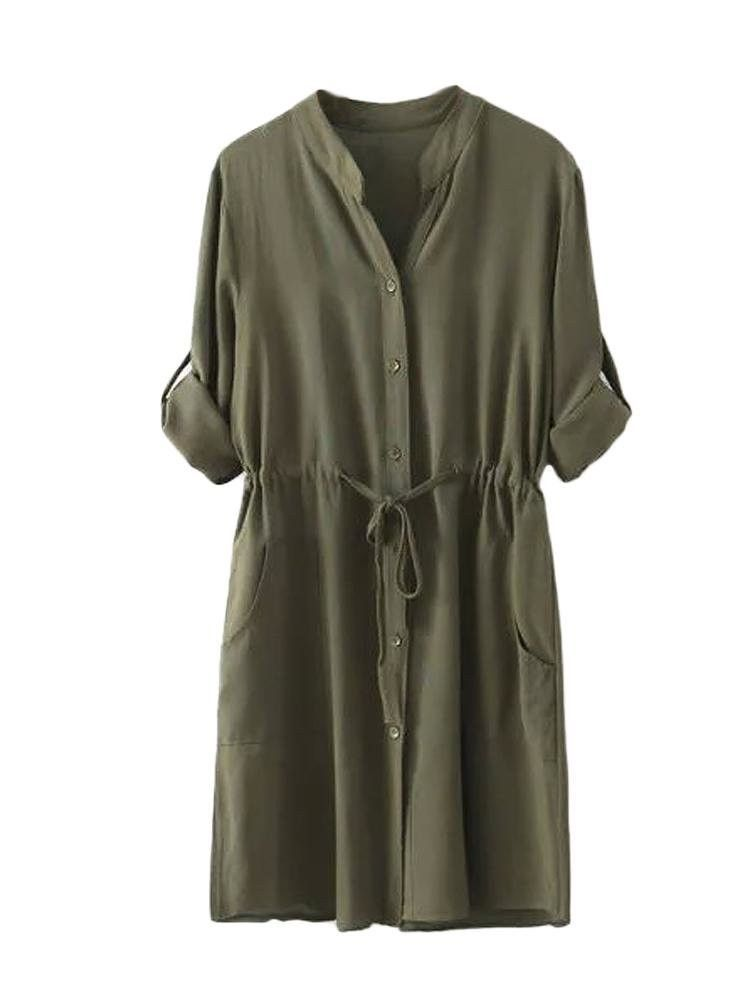 489e2b5ecd0 Women V Neck Drawstring Button Pure Color Slim Dress Mini Shirt Dress
