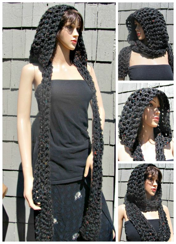 Grey and Multi-colored Flecked Crocheted Hooded Scarf   *> knit ^_ ...