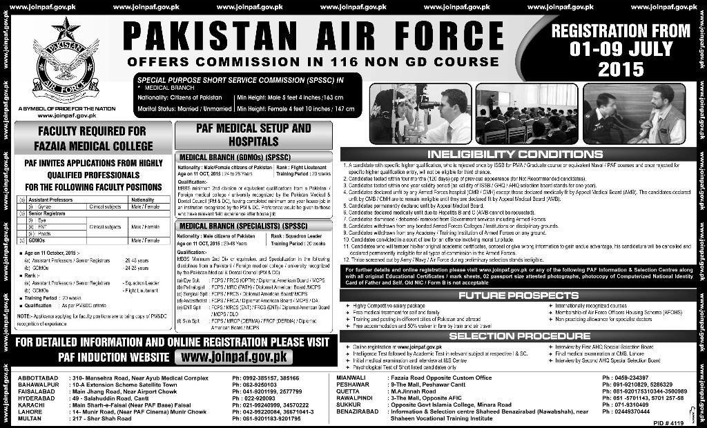 Pakistan Air Force Paf Jobs 2015 Mbbs Jobs Mechanical Engineers