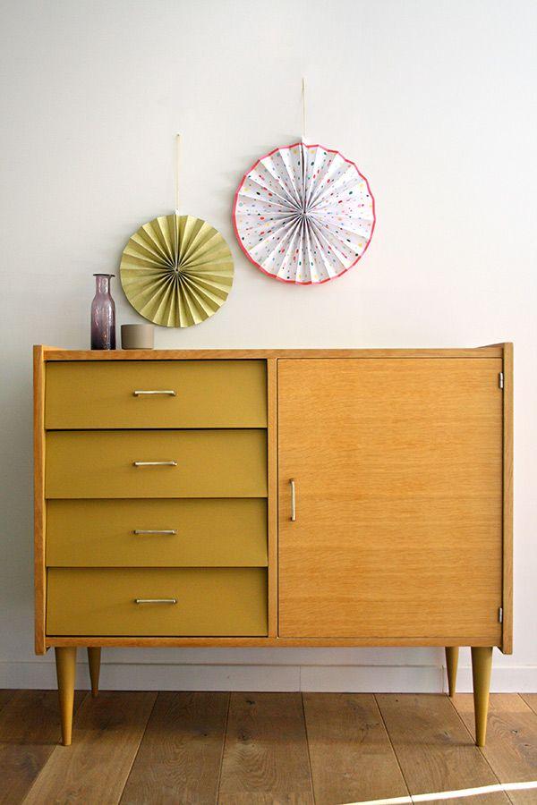 Commode bois et moutarde | Mobilier vintage | Pinterest | Buffet ...
