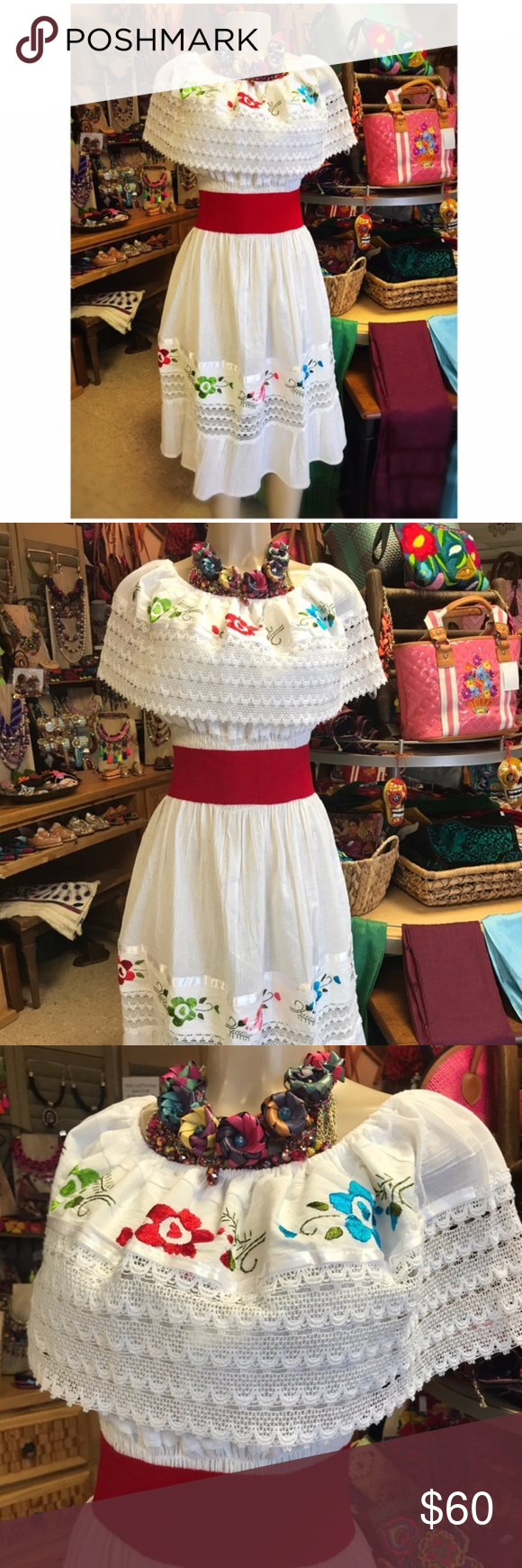 f12f97eae96 Mexican Off Shoulder Dress Embroidered White Sexy New Mexican Dress can be  wear on or off the shoulder